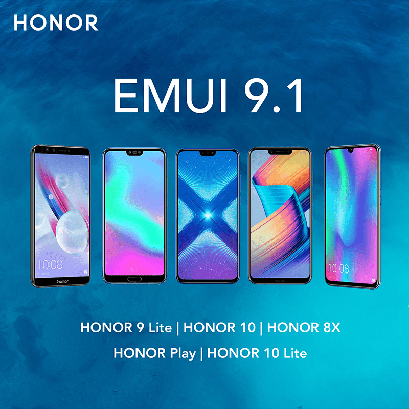 HONOR updates 8X, 9, 10, 10 Lite, and Play to EMUI 9.1