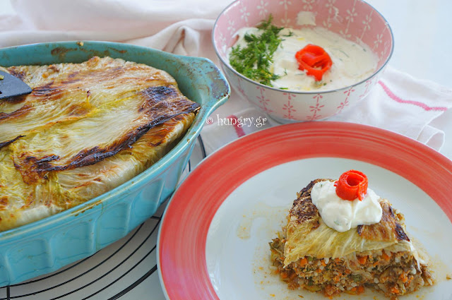 Greek Cabbage Pie with Yogurt Sauce