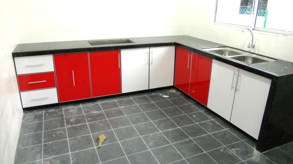 Kabinet Dapur Kombinasi Merah Putih Tapi Teringin Nak Buat Warna Pink