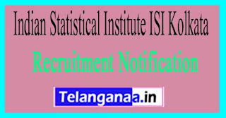 Indian Statistical Institute ISI Kolkata Recruitment Notification 2017