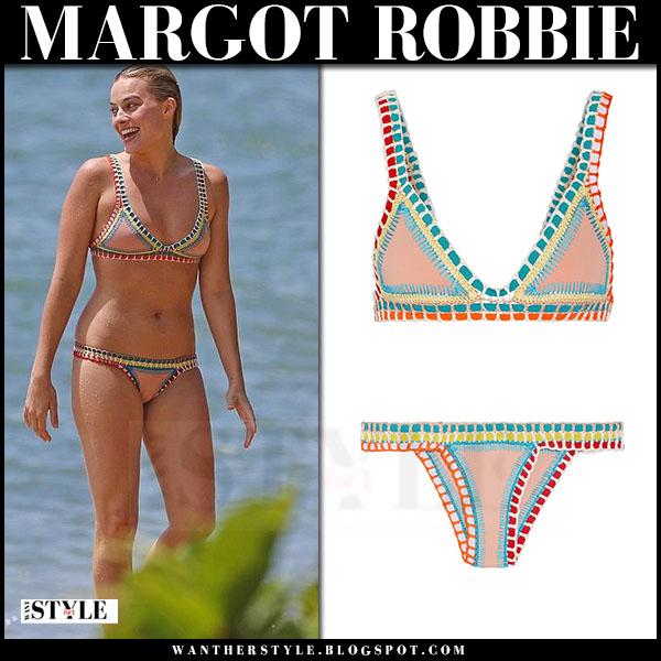 Margot Robbie in crochet two piece bikini kiini luna what she wore beach style
