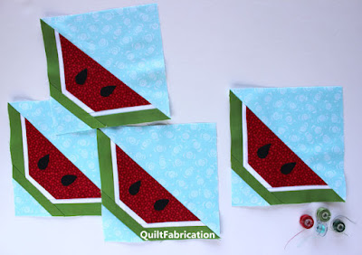 four watermelon wedge units