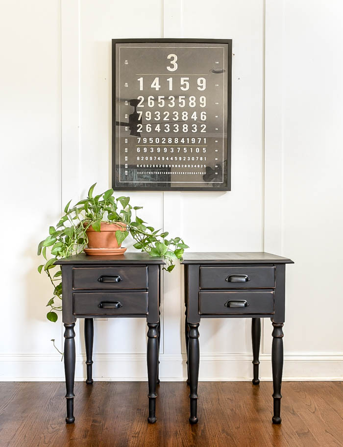 Black painted modern side tables