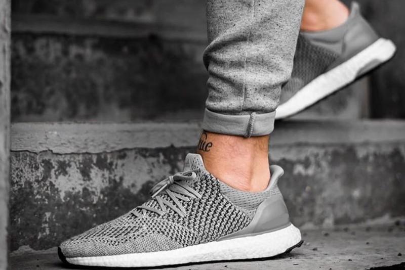 A grey color Athleisure sneaker, men's.