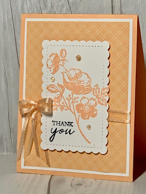 Floral monochromatic greeting card using Stampin' Up! Shaded Summer Stamp Sed