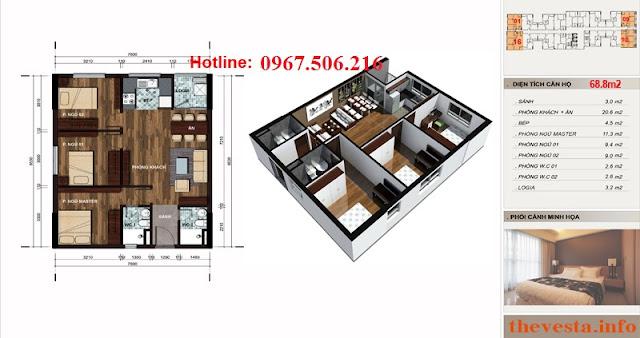 Thiết kế căn hộ 68m2: 2 ngủ+ 2 vệ sinh dự án The Vesta