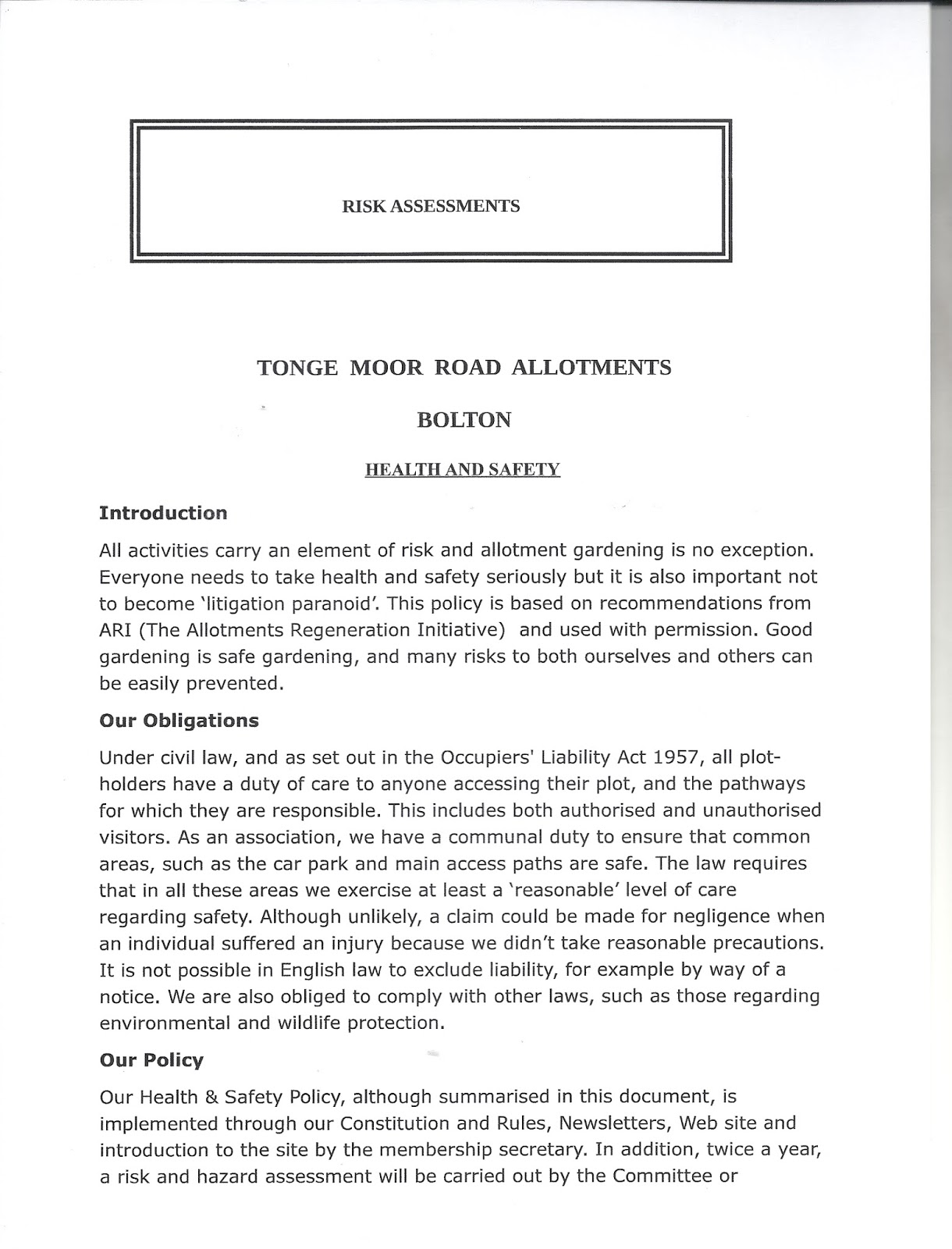 Risk Assessment Forms. Apologies For The Quality Of This Post But The Last  Microsoft Update Stopped My Pdf Translation Software From Working - I'm  Still