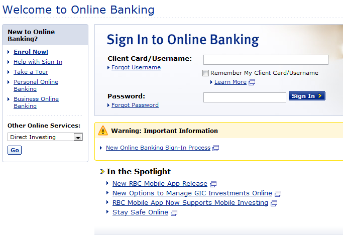 Rbc Personal Banking Sign