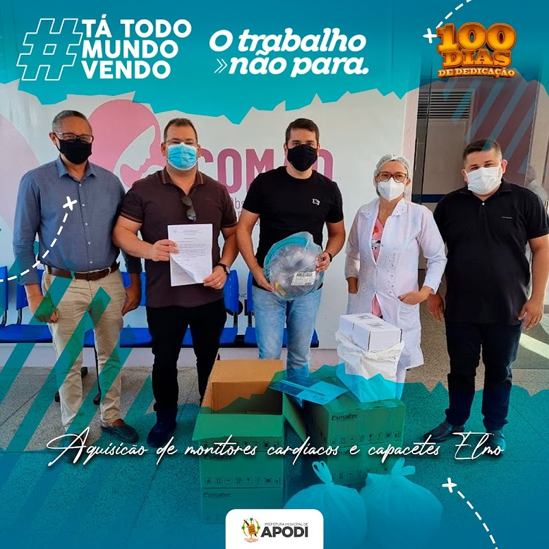 """A Prefeitura de Apodi, por meio da Secretaria Municipal de Saúde, realizou a entrega de 06 capacetes """"Elmo"""" e 3 monitores cardíacos para o Hospital Regional Hélio Morais Marinho."""