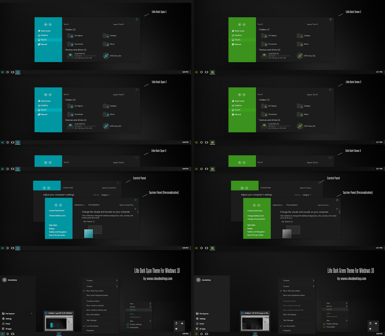 Litle Dark Cyan and Green Theme Windows10 November 2019 Update 1909