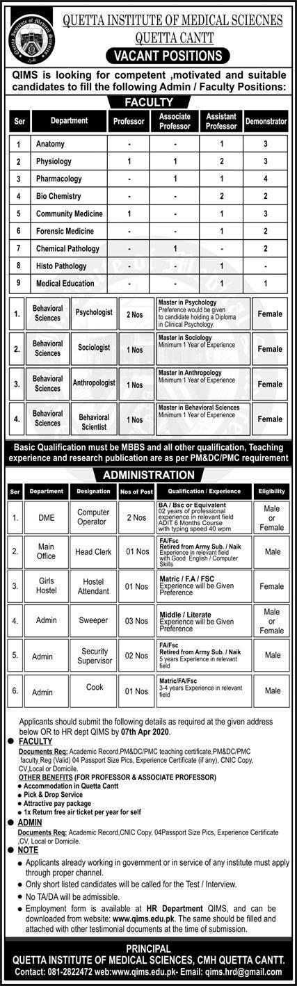 Vacant Positions Quetta Institute of Medical Sciences Quetta