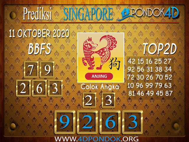 Prediksi Togel SINGAPORE PONDOK4D 11 OKTOBER 2020