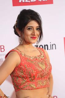 Harshika Ponnacha in orange blouuse brown skirt at Mirchi Music Awards South 2017 ~  Exclusive Celebrities Galleries 102.JPG