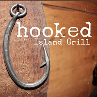 The logo to the Hooked Island Grill restaurant in Matlacha, Florida