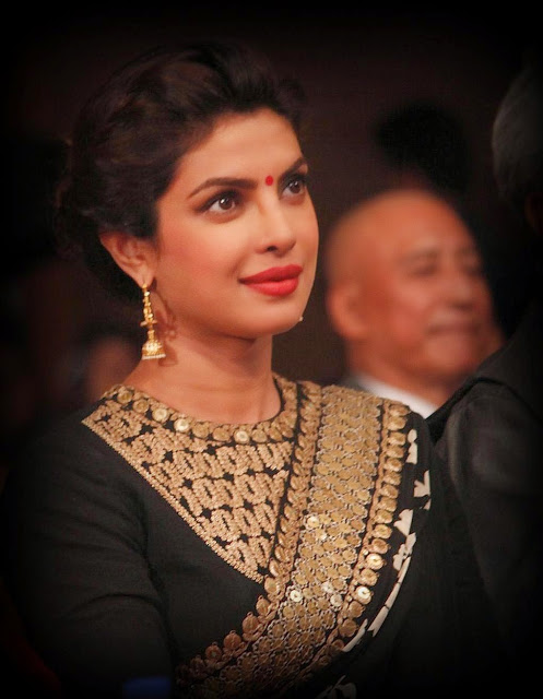 Priyanka Chopra Black Saree At Dilip Kumar's Autobiography Launch