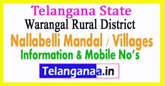 Nallabelli Mandal Villages in Warangal Rural District Telangana