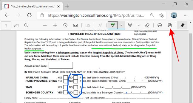 زر حفظ على شريط أدوات PDF في Microsoft Edge