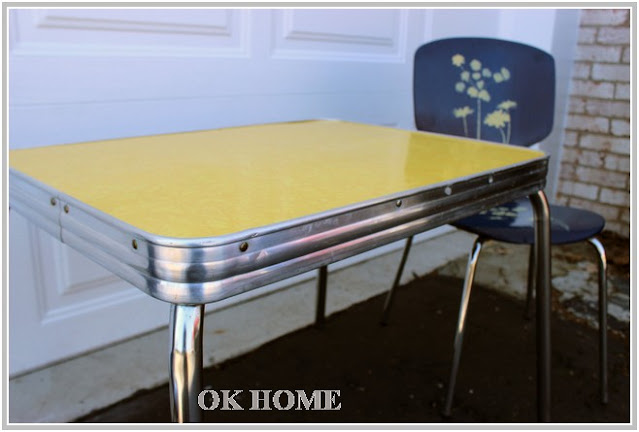 yellow vintage kitchen table and chairs