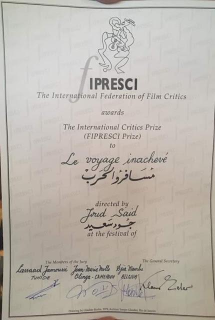 جمعية النقاد الدوليين فيبريسي تسلم جائزتها لفيلم مسافروالحرب للمخرج السوري جود سعيد