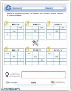 Ficha interactiva: Divisiones incompletas ABN.