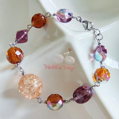 Wire Wrapped Fire Polished Glass Beads Bracelet