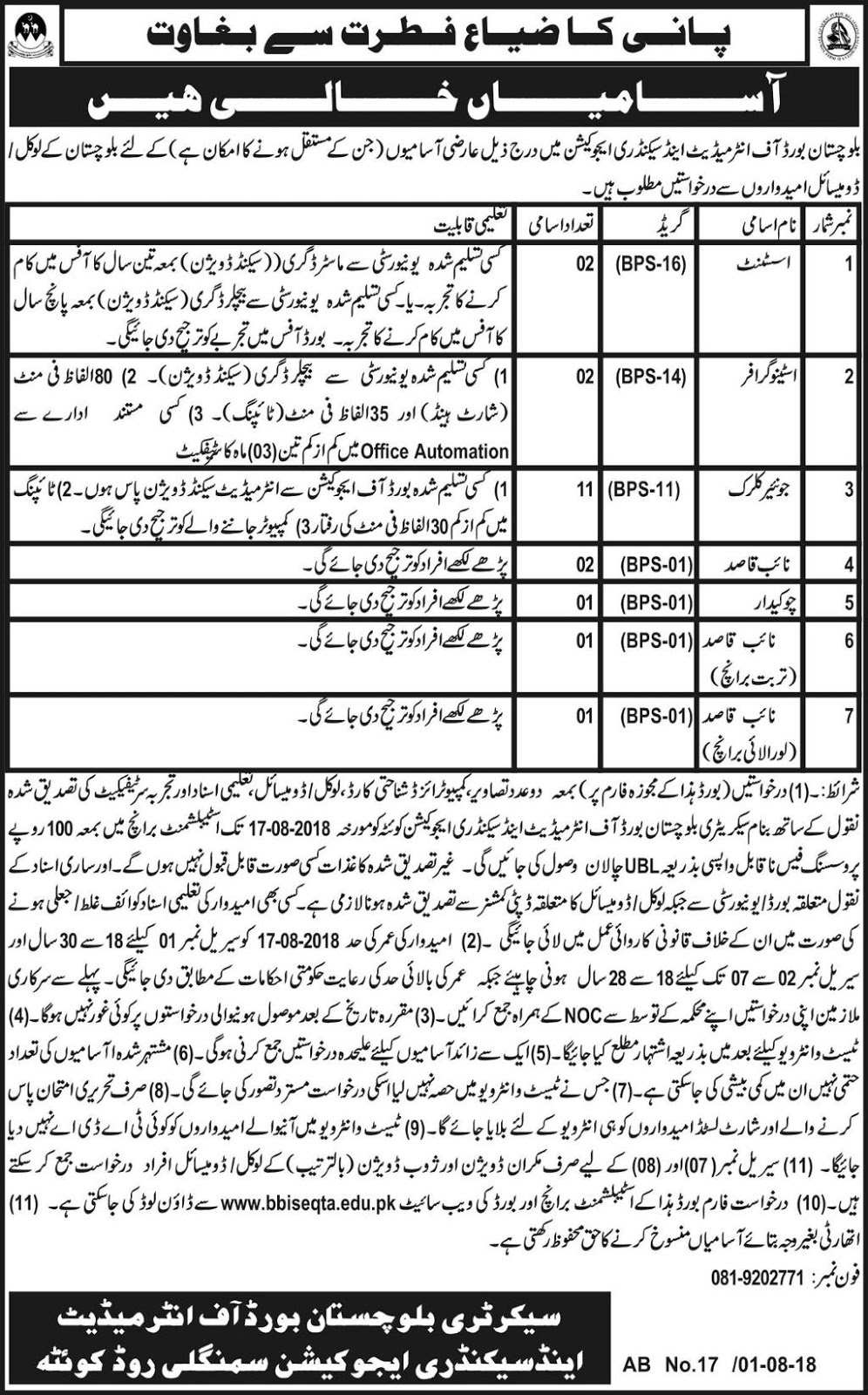 Board Of Intermediate And Secondary Education Jobs August 2018
