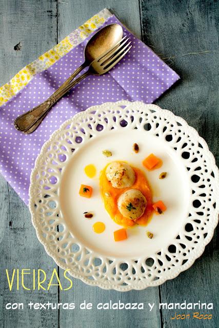 Vieiras con texturas de calabaza y mandarina - Kooking