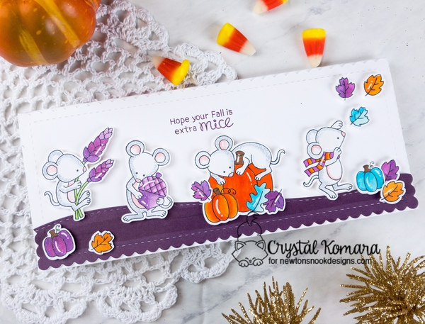 Hope your fall is extra mice by Crystal features Autumn Mice, Slimline Frames & Portholes, and Land Borders by Newton's Nook Designs; #newtonsnook