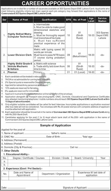 303 Spares Depot EME Lahore Cantt Pak Army Jobs 2021 Vacant Positions