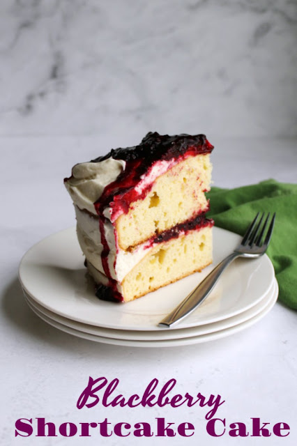 Instead of making individual shortcakes for everyone, make one big blackberry shortcake cake. It is a beauty to make and serve and it tastes delicious too. With layers of slightly sweet biscuity cake, fluffy vanilla frosting and plenty of blackberries to go around, it is a sure winner.