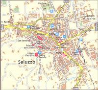 Saluzzo Map. Piedmont, Italy.