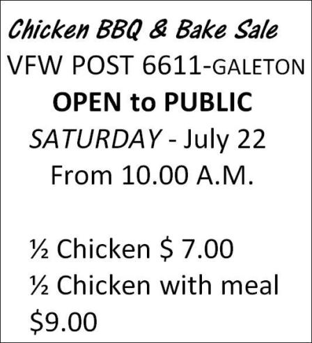 7-22 Chicken BBQ & Bake Sale Galeton
