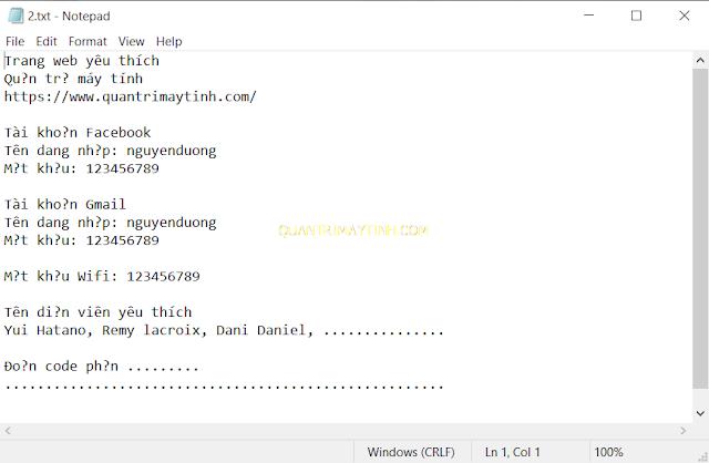 Cách lưu file Notepad không bị lỗi Font chữ Tiếng Việt