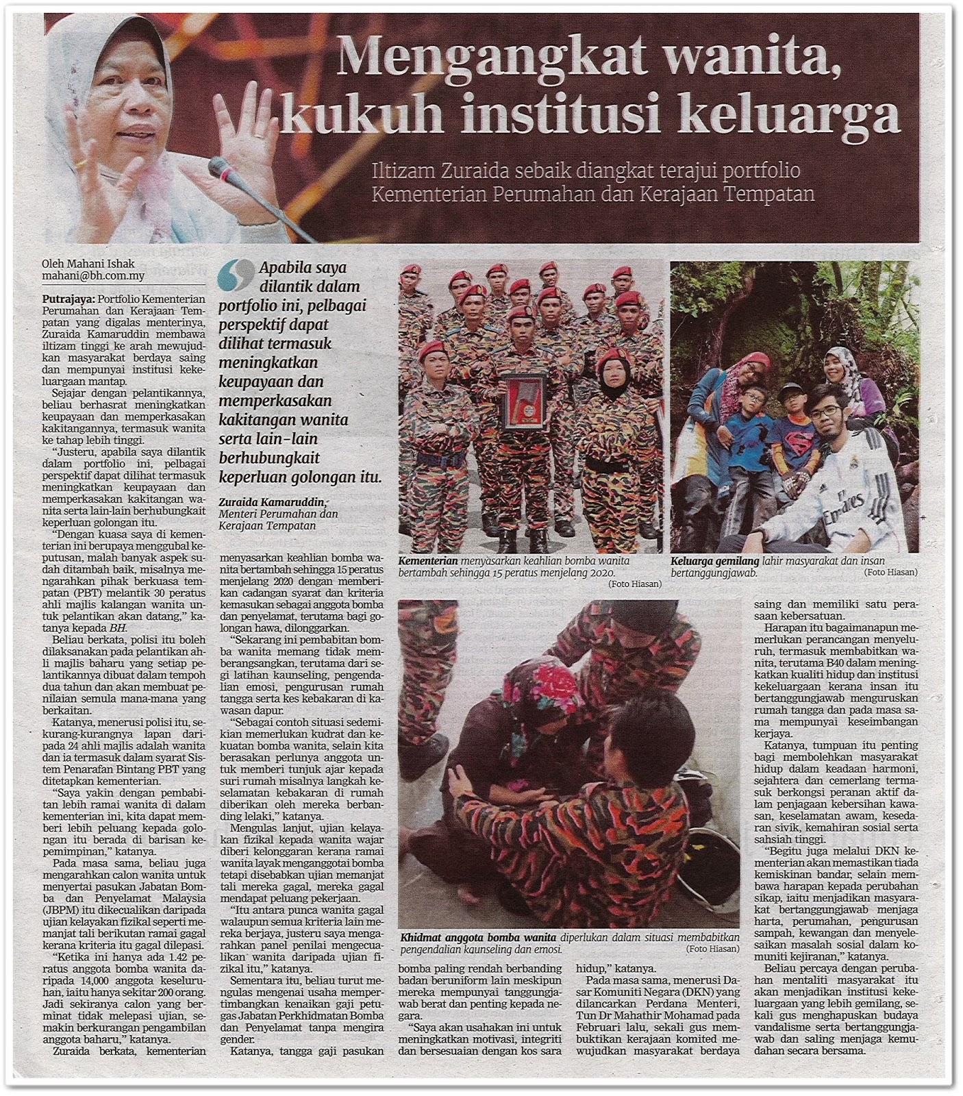 Mengangkat wanita, kukuh institusi keluarga - Keratan akhbar Berita Harian 6 Ogos 2019