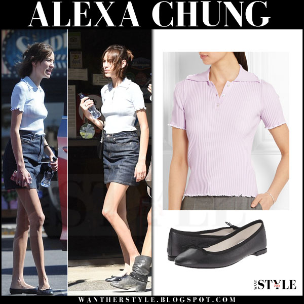 Alexa Chung in ribbed knit jw anderson polo shirt, denim mini skirt and black repetto cendrillon ballet flats what she wore