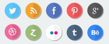 Iconos de redes sociales tipo plano