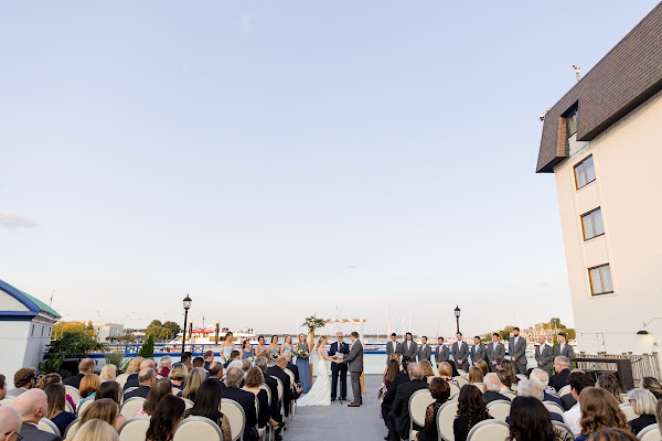 Annapolis Waterfront Hotel Wedding 2021 Ceremony Sunset photographed by Heather Ryan Photography