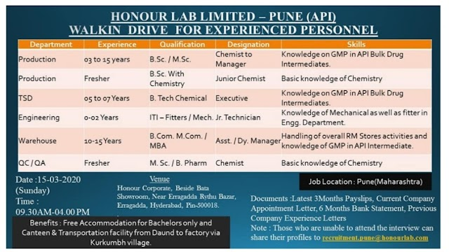 Honour Labs | Walk-in for Multiple Departments at Hyderabad on 15 Mar 2020