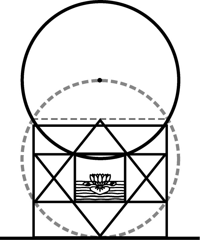 The hidden Vesica Piscis in the Core  & Pedestal of the Mother's Temple  as seen by Thea, The New Way,  Vols. 1&2, pp. 238, 241