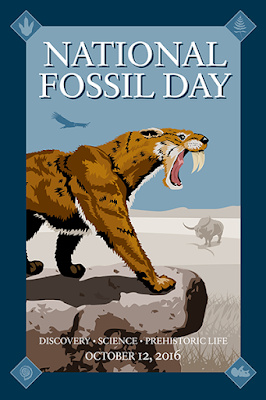 Official artwork for National Fossil Day, featuring a saber-toothed cat.