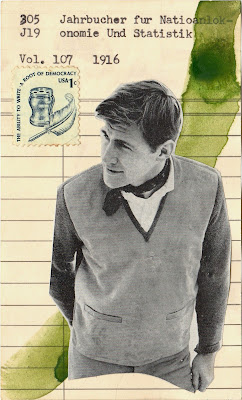 quill pen democracy writing United States postage stamp library due date card vintage male clothing model wabi sabi dada Fluxus mail art collage