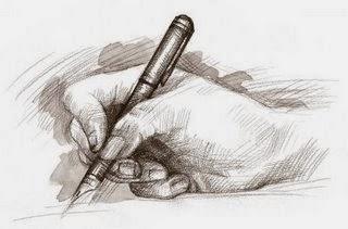 mano escribiendo articulos