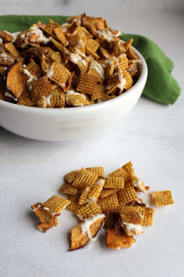 bowl of sweet chex mix ready to eat