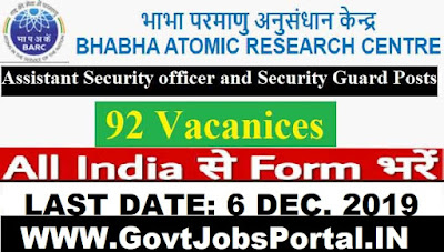 BARC Recruitment for Security Guard Posts 2019