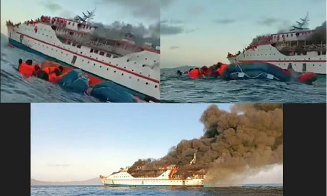 Video Kapal Penumpang Ternate-Sanana Terbakar, Penumpang Terombang-ambing di Tengah Laut