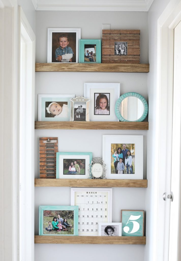 DIY picture ledges in hallway