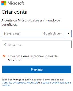 Outlook MSN Live - Criar email de graça