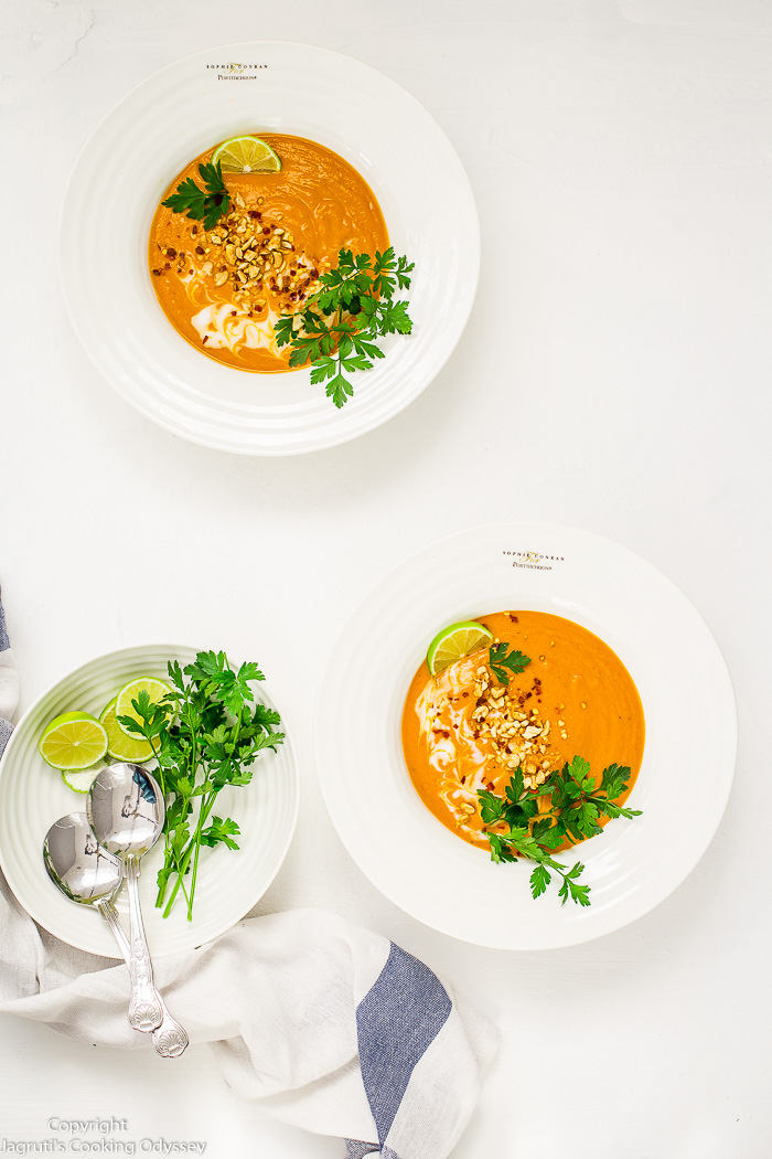 African peanut, carrot and tomato soup is hearty and an easy recipe for a filling and nutritious meal. A comforting soup, that is wholesome and enriched with deep flavours which you won't get of tired anytime soon. This soup is made with peanut butter, carrots, tomatoes, coconut milk and spices such as ground ginger, cinnamon and clove. Easy and quick if made in an Instant pot.