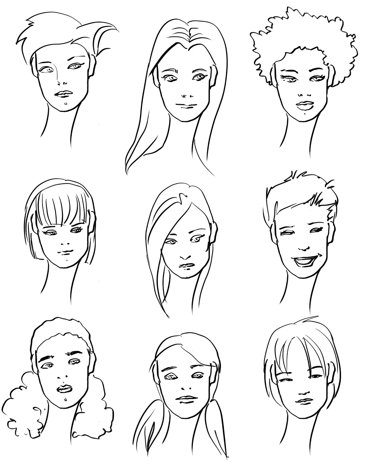 Worksheets Plants Steps How To Draw Self Portrait Fashion Templates With  Faces And Hair How To