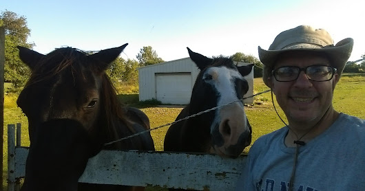 Hanging with the horses Cocoa and Lucky